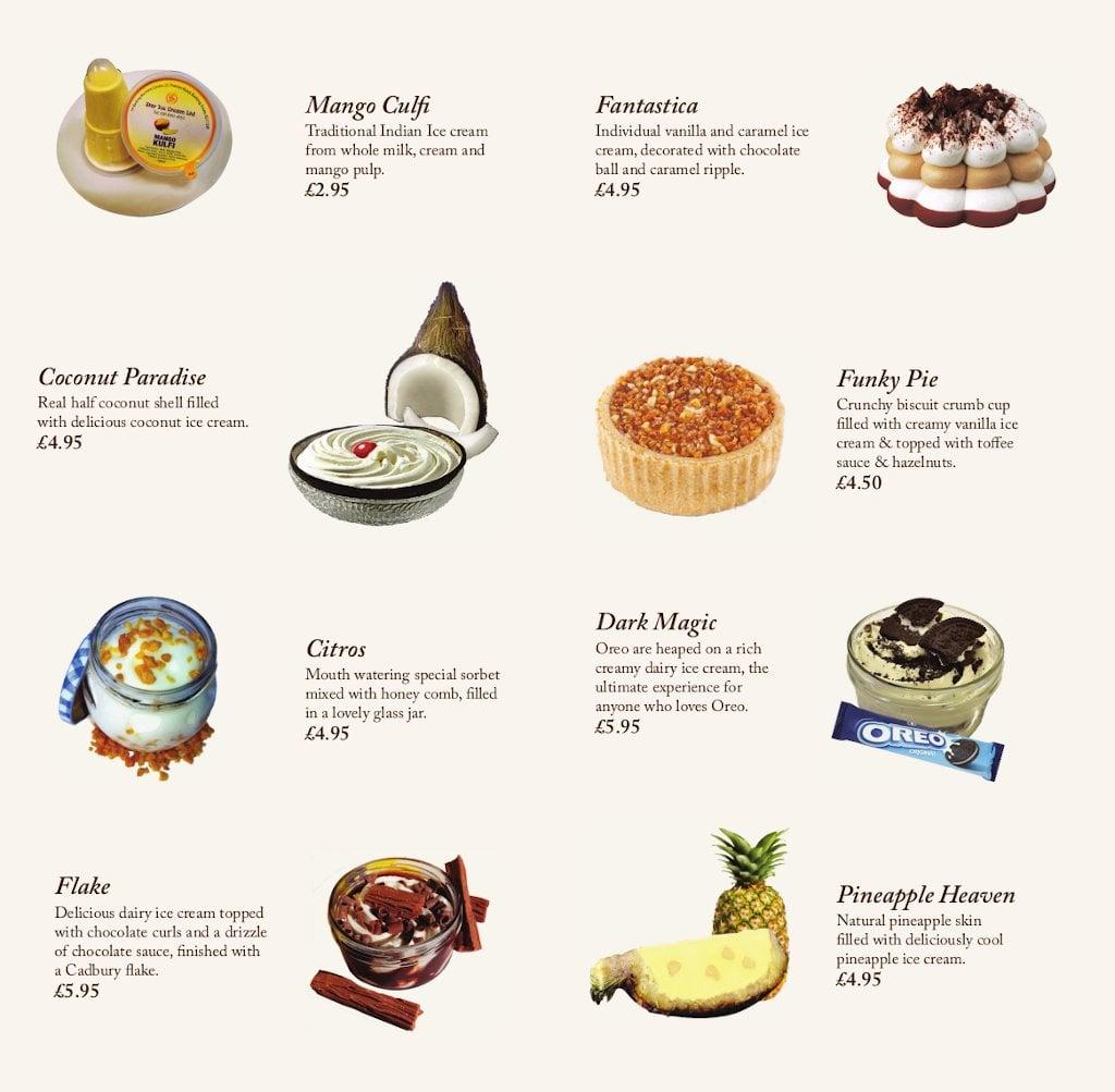 Desserts menu - back