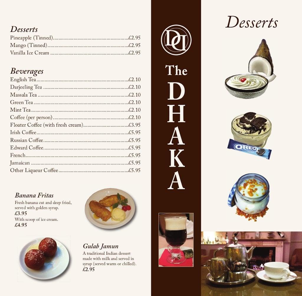 Desserts menu - front