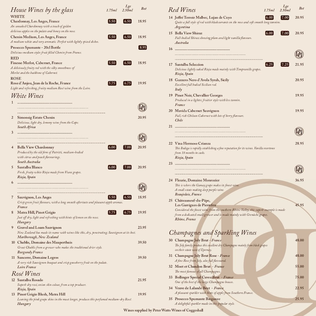Drinks menu - back