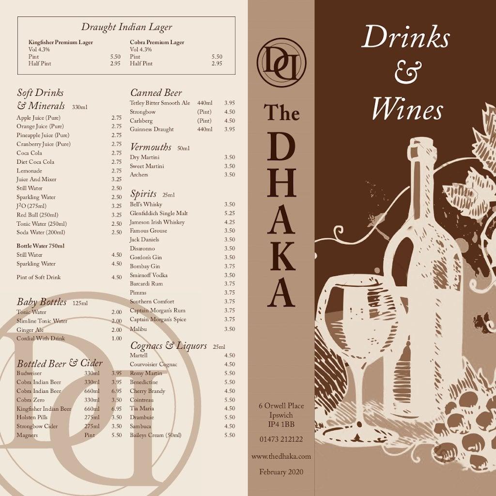 Drinks menu - front